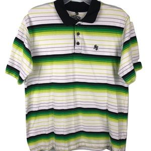 South Pole Premium Polo Shirt White Green Mens XL